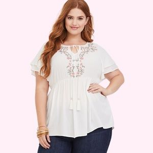 White Torrid Embroidered Floral Crepe Blouse